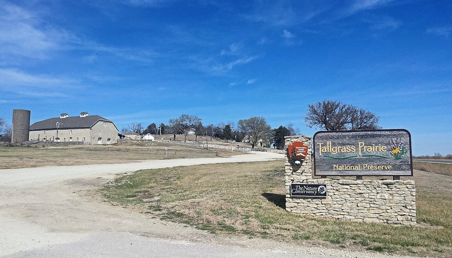 Road and entrance sign at the Tallgrass Prairie National Preserve