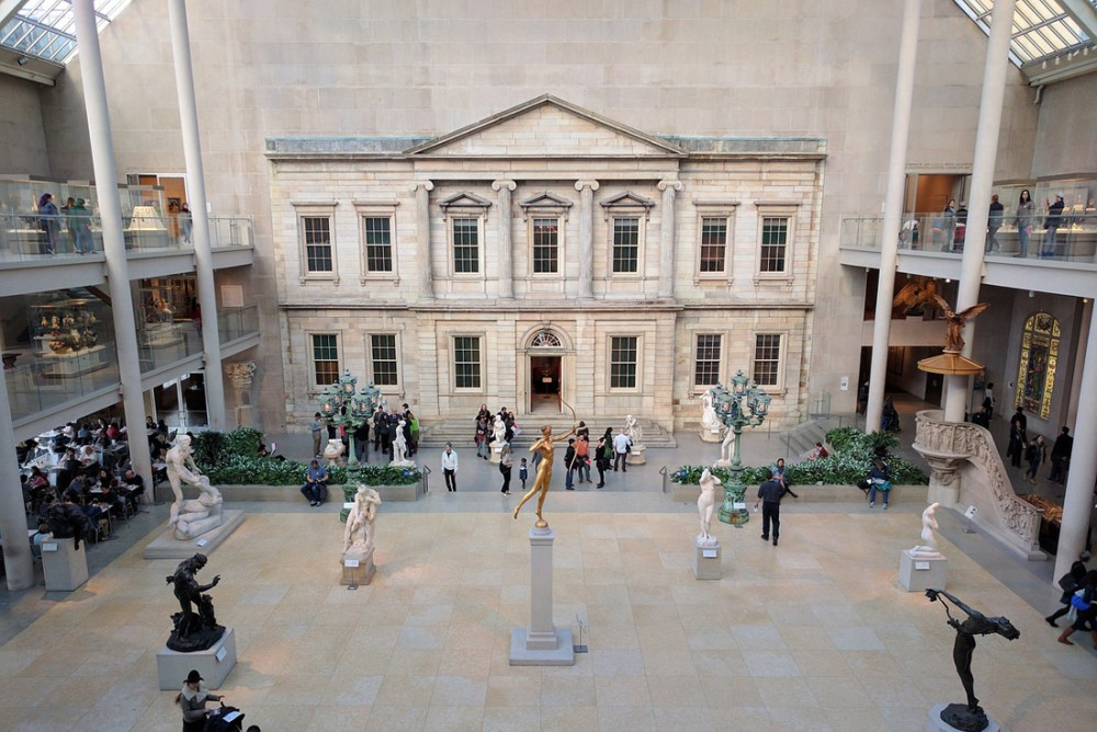 View looking down into a courtyard at the Metropolitan Museum of Art
