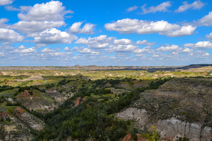View of badlands from an overlook in Theodore Roosesvelt National Park