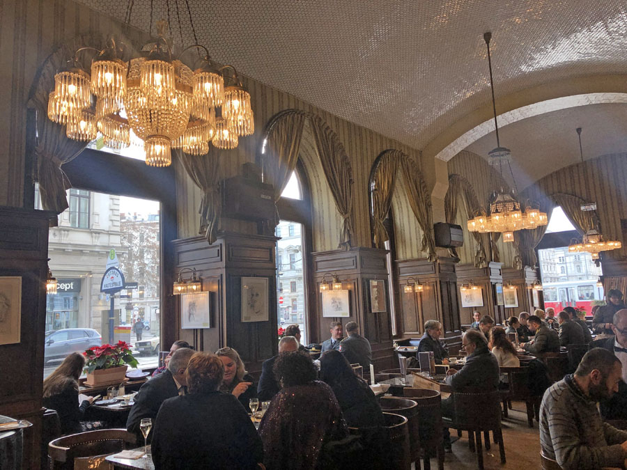 Viennese coffee shop full of patrons