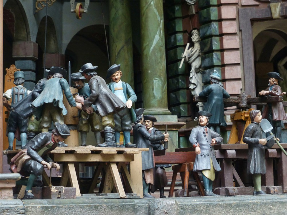 Carved wooden figures at the Hellbrunn wasserspiele