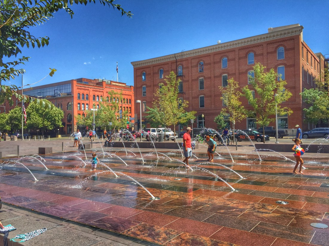 Denver's Union Station Fountain in Summer