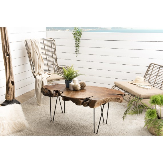 table basse forme naturelle bois teck pieds epingles scandi metal