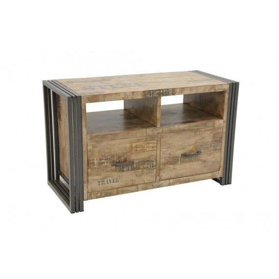 meuble tv 2 tiroirs wolof 90cm finition vieillie coloree et blanchie
