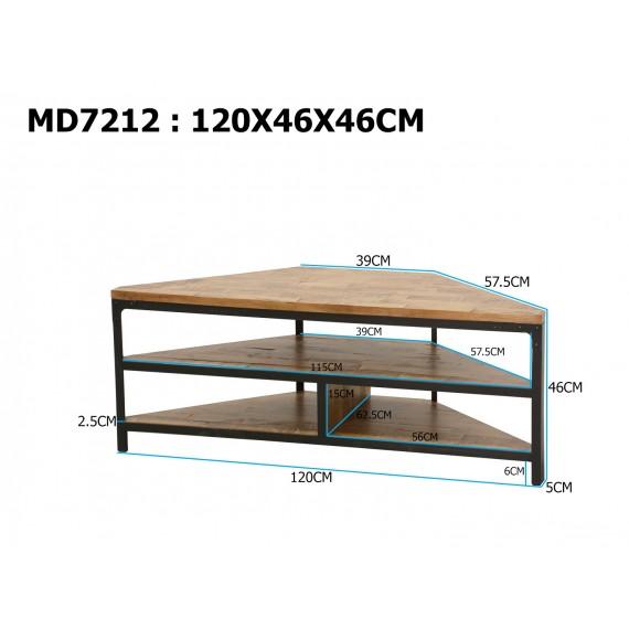 meuble tv d angle 2 etageres wolof finition naturelle vieillie