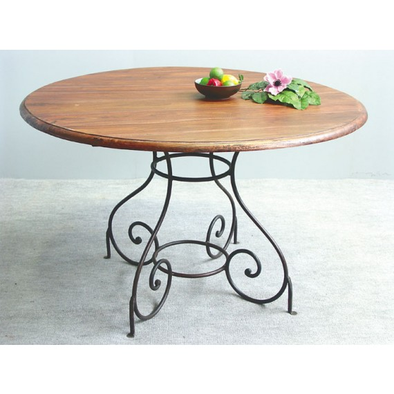 table ronde fer forge bois