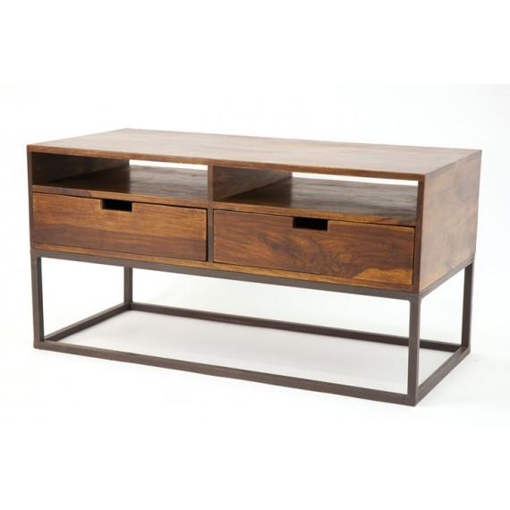 meuble tv 2 tiroirs structure geometrique fer