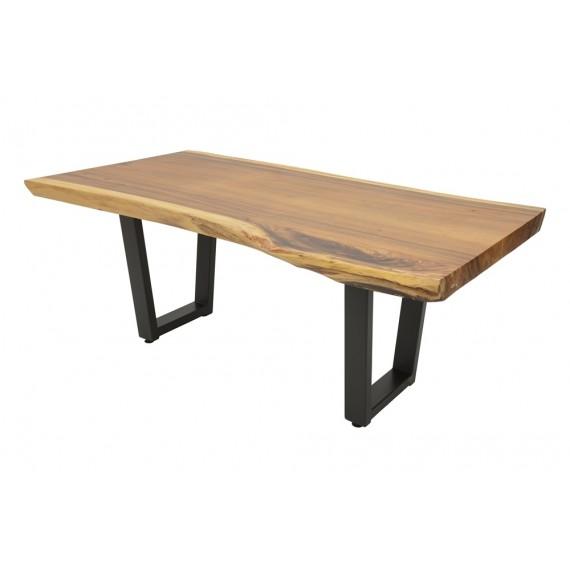 table repas bois massif forme libre pieds fer forge modele trapeze