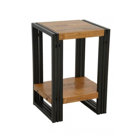 petite table angle de canape design avec etagere bois et fer finition naturelle avec inscription