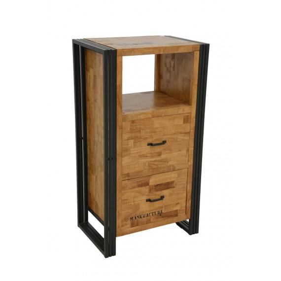 meuble de rangement 2 tiroirs 1 niche wolof finition naturelle avec inscription