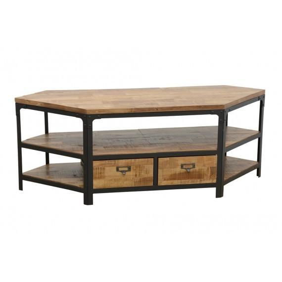 meuble tv d angle 2 tiroirs wolof finition naturelle vieillie
