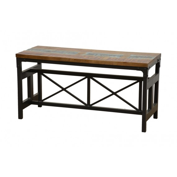 banc large bois fer forge finition recyclee