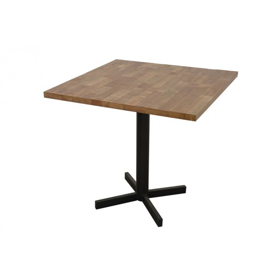 table carree de bar pied en croix wolof finition naturelle vieillie