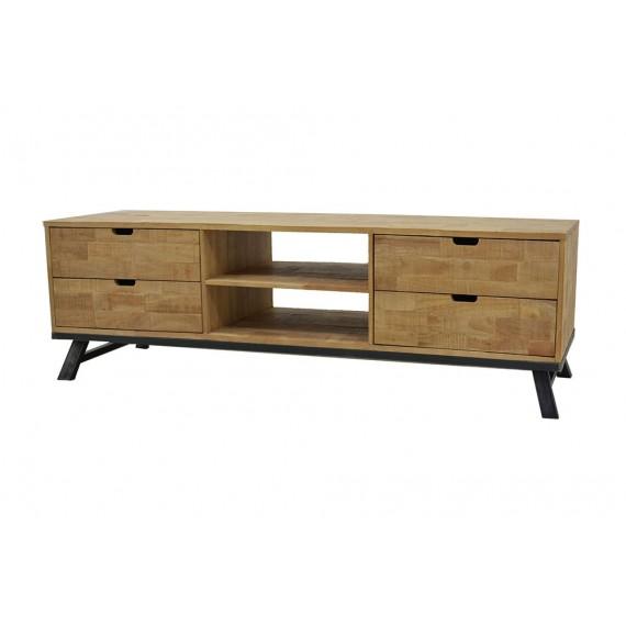 meuble tv bas vintage industriel 2 niches 4 tiroirs