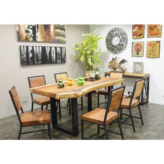 table repas bois massif forme libre fer forge modele u