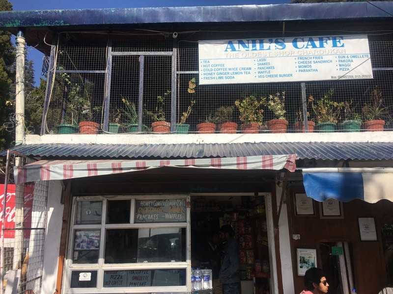 A shot of the exterior of Anil's Cafe at Char Dukaan in Landour