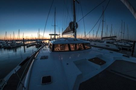 Catamaran at dusk