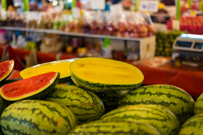 thailand, bangkok, market, yellow, watermelon