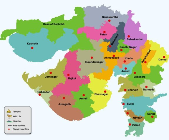 Places to visit in Gujarat - Gujarat Map