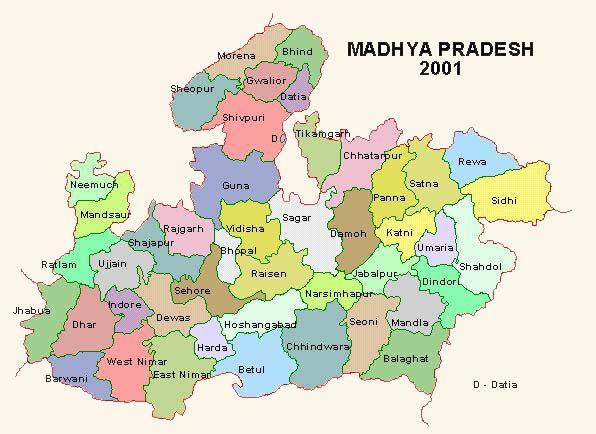 Tourist places to visit in Madhya Pradesh - Madhya Pradesh Map