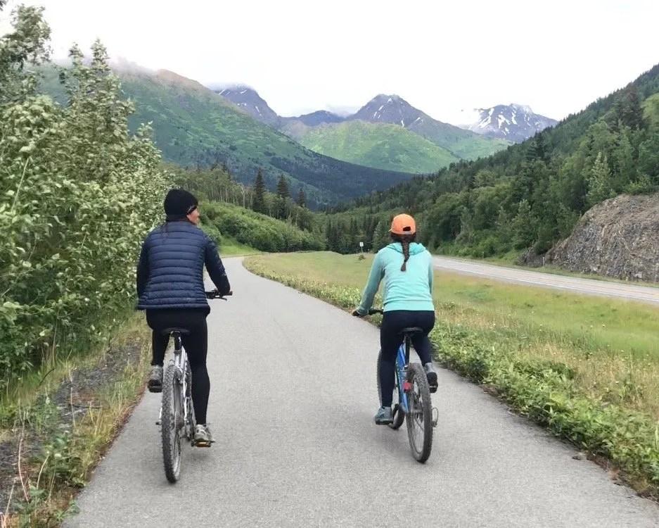 Riding the Bird to Gird Bike Path near Anchorage Alaska