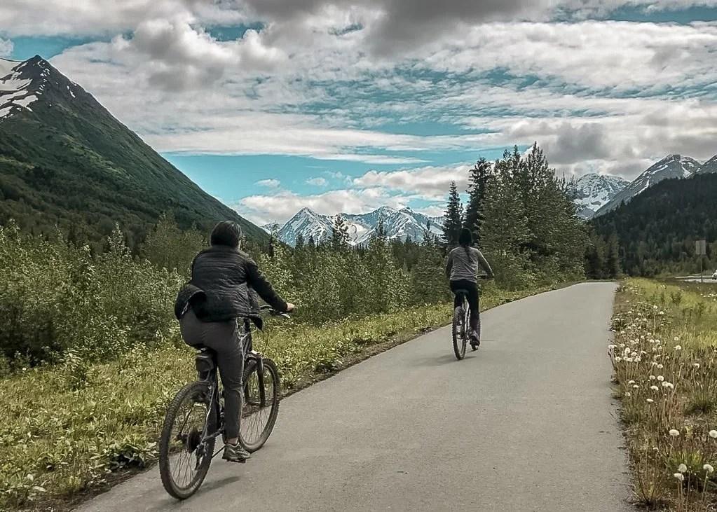 Biking Sixmile Trail bike path, Kenai Peninsula