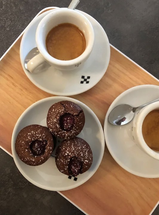 Stay fit while traveling chocolate muffin and coffee