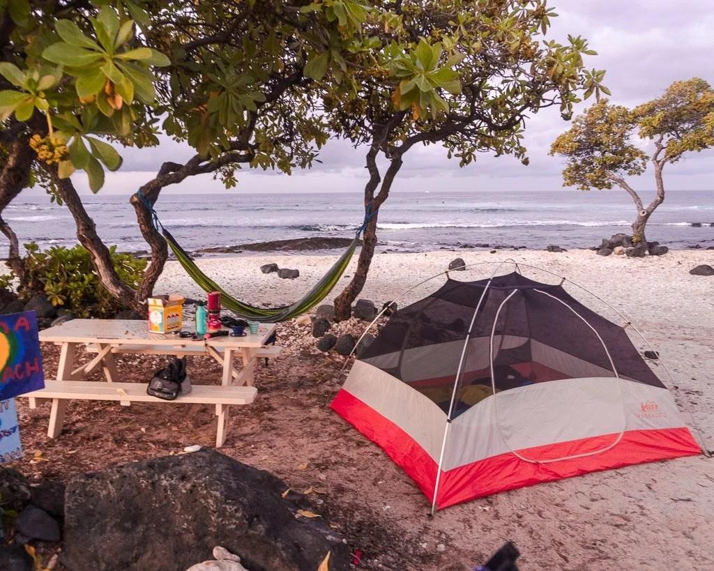 Kohanaiki Beach Camping, Big Island, Hawaii