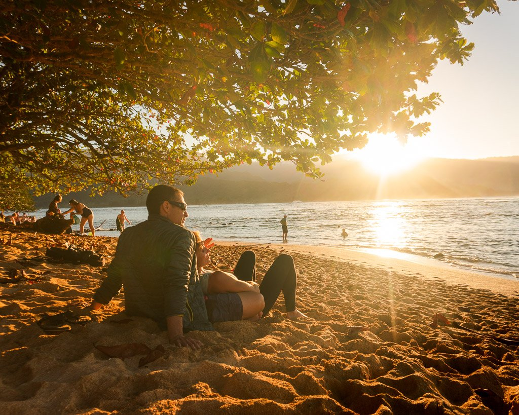 Watching sunset from the Princeville Resort