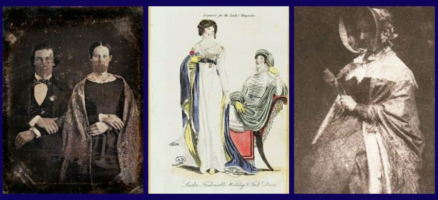 vintage fashion plates show shawls in every period