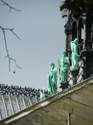 dtatues of saints on the high buttresses of Notre Dame, Paris