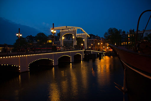 The Skinny Bridge in Amsterdam, lit up at night