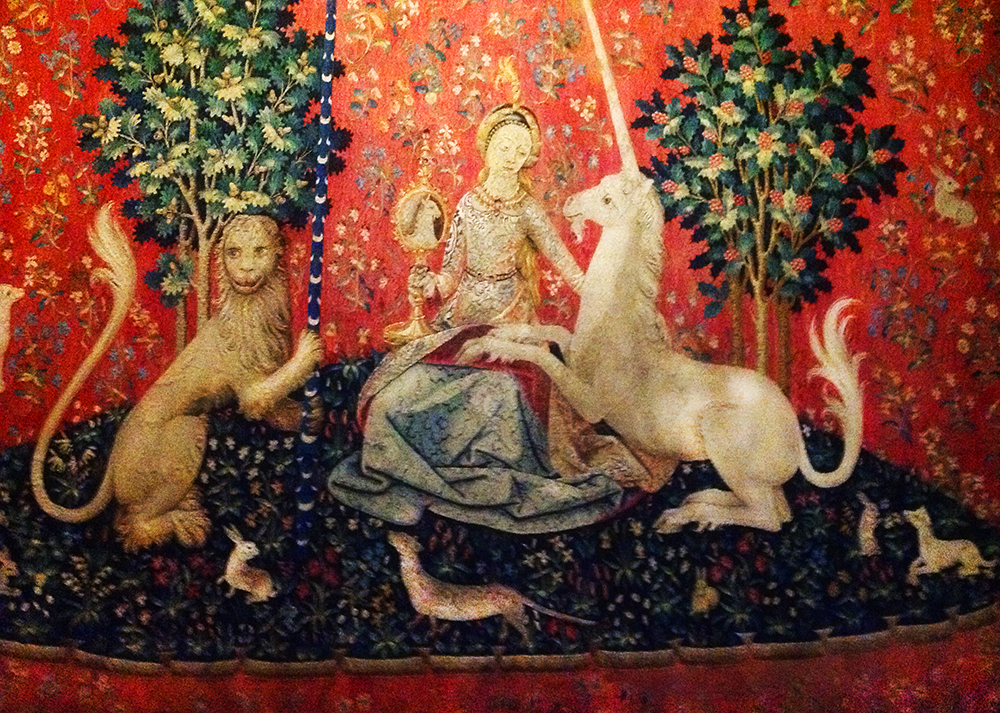 A detail of one of the series of medieval tapestries The Lady and the Unicorn.