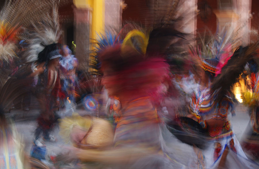 The conchero dancers of San Miguel de Allende are a blur of movement engulfed in color and sound.