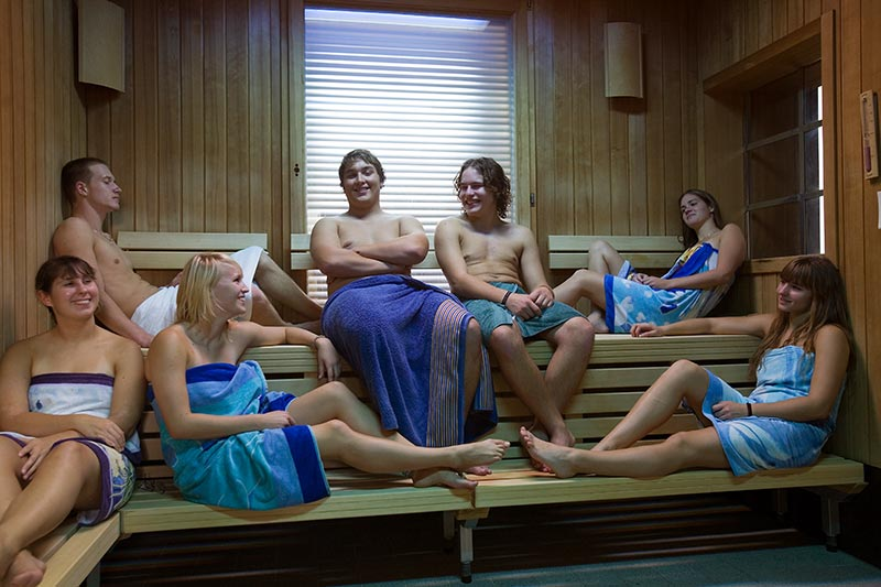 A group indulges in the Christmas traditions of saunas before Christmas Eve Mass in Estonia.