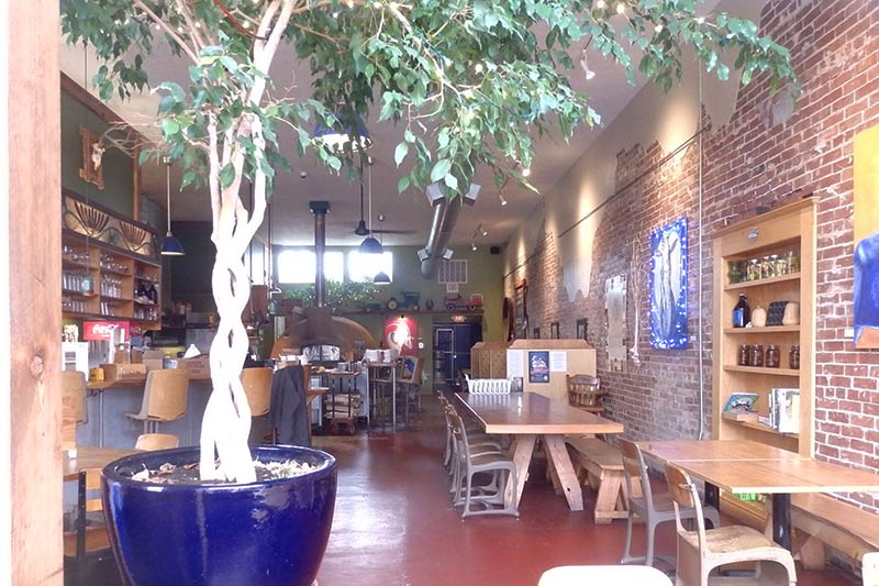 The Blue Goat interior, a cozy, comfortable place with seriously good food in Amity, Oregon.