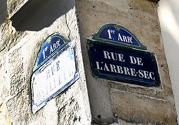 Paris street sign-Rue de l'Arbe Sec