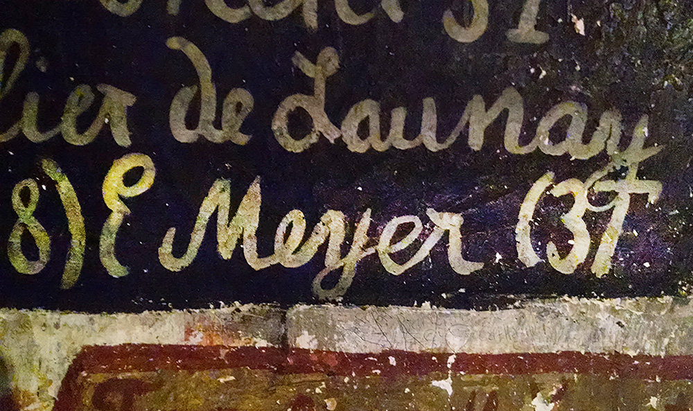 The name E. Meyer is painted onto one wall at the Heidelberg Student Jail. My great uncle's name!