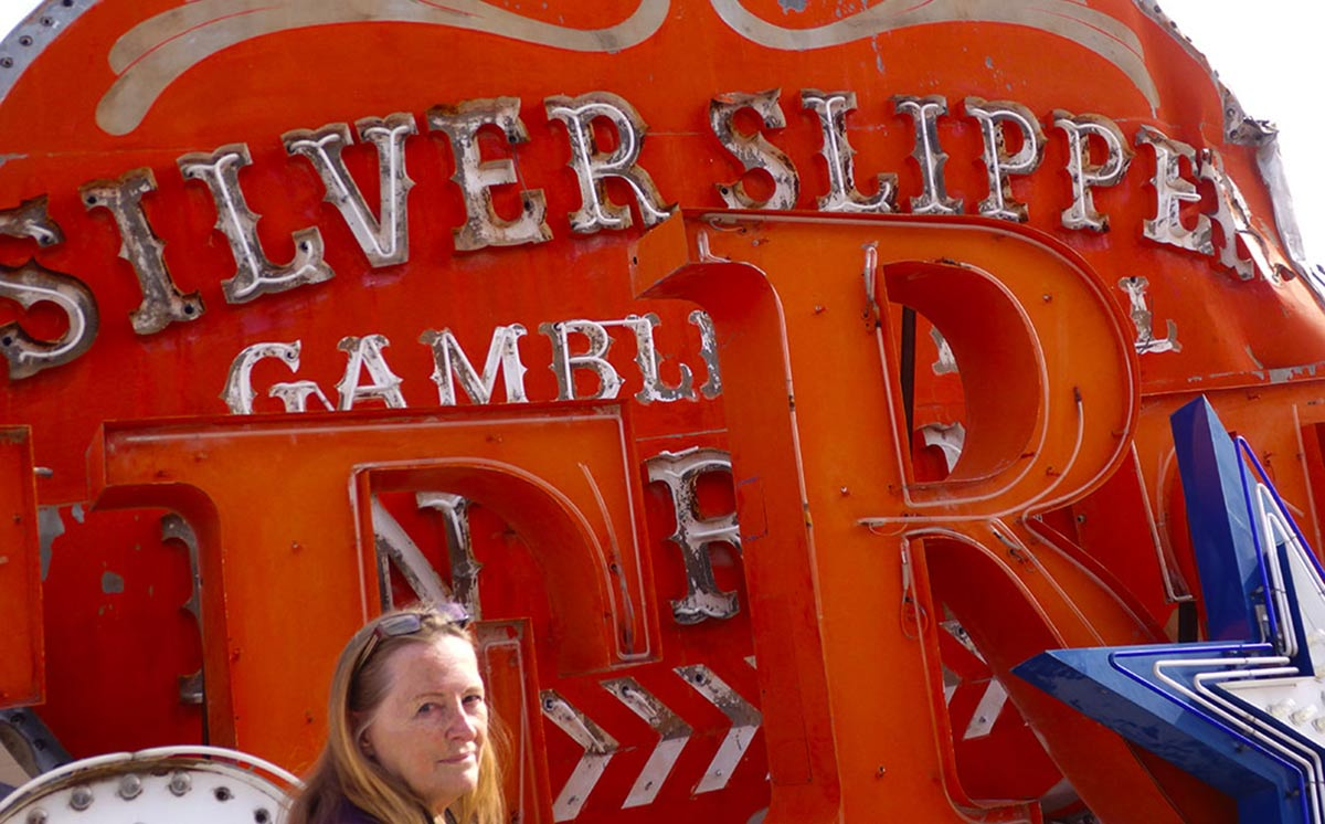 Worn and broken neon sign for the old Silver Slipper Gaming House, Las Vegas Neon Museum.
