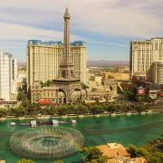 A panoramic view of Hotels Paris and Planet Hollywood and the famous Bellagio Fountains on the Las Vegas Strip.