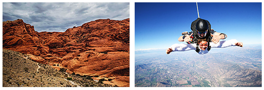 A span of the beautiful Red Rock Canyon near Vegas. Left - A woman does a tandem sky dive over the desert.