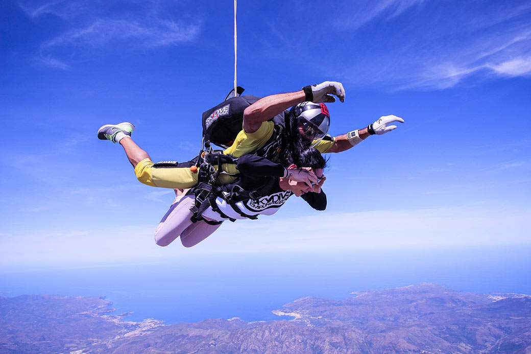 A tandem skydive, one of the thrills available in Perth, Australia