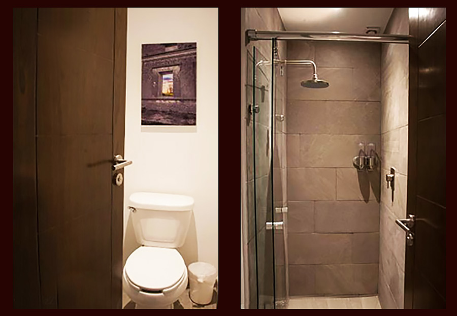 Individual toilets and shower rooms are located just outside the pod area at Izzzleep Hotel.
