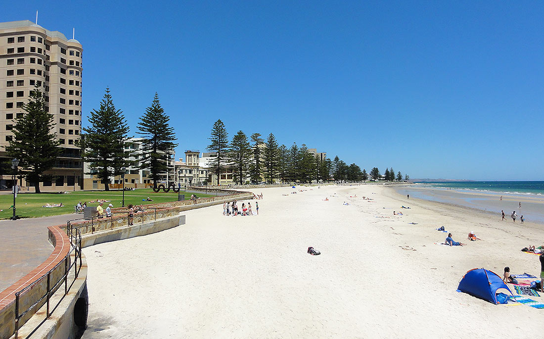 The white sands of Glenelg beach are just a short tram ride from downtown Adelaide, South Australia
