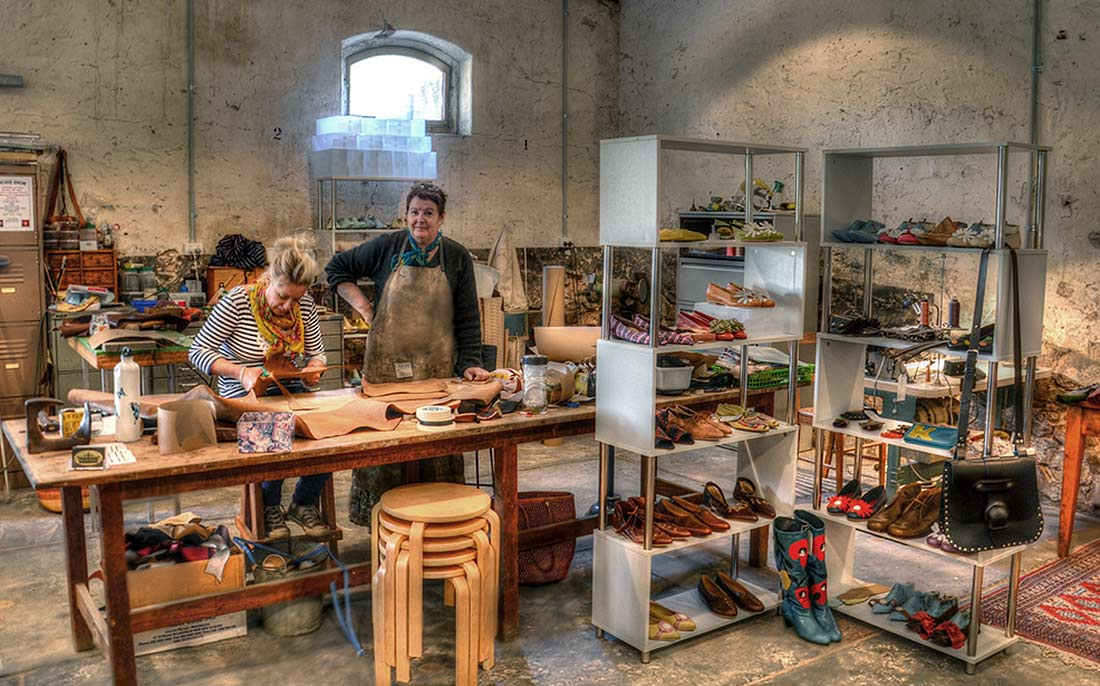 Leather artists in a studio at JamFactory on the Seppeltsfield Estate, Barossa Valley, South Australia