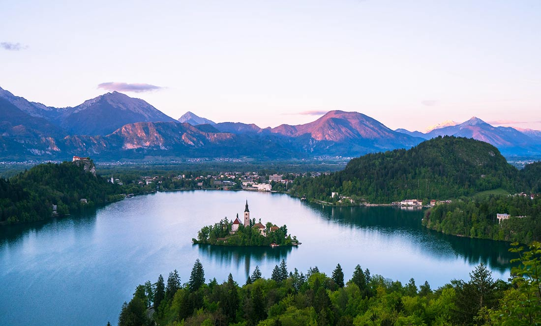 A view of Lake Bled, in Slovenia, the perfect backdrop when eating a Kremna Rezina cream cake.