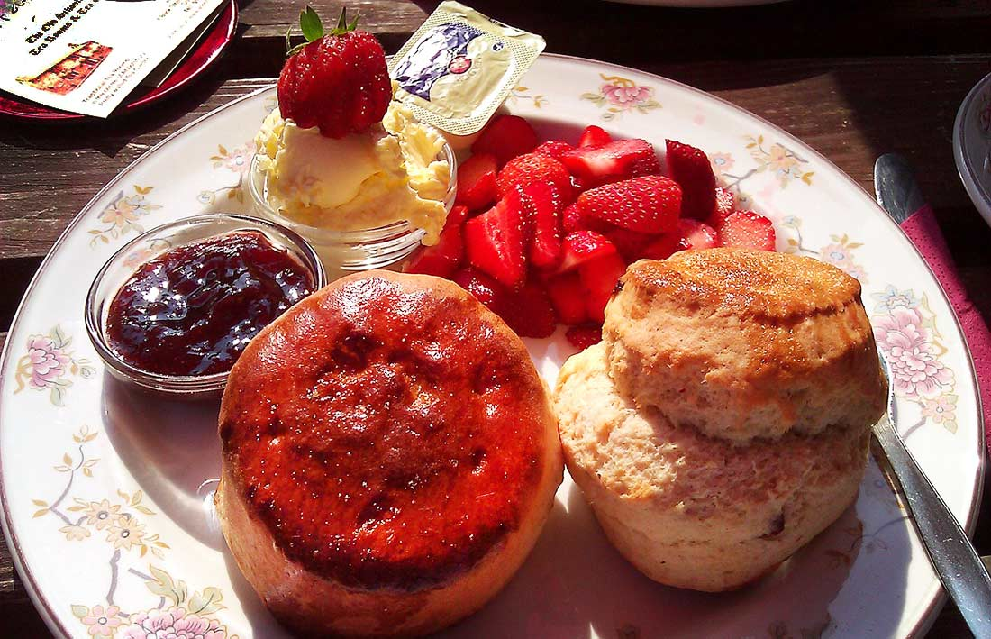 Scones with jam and clotted cream--the traditional Afternoon tea in London