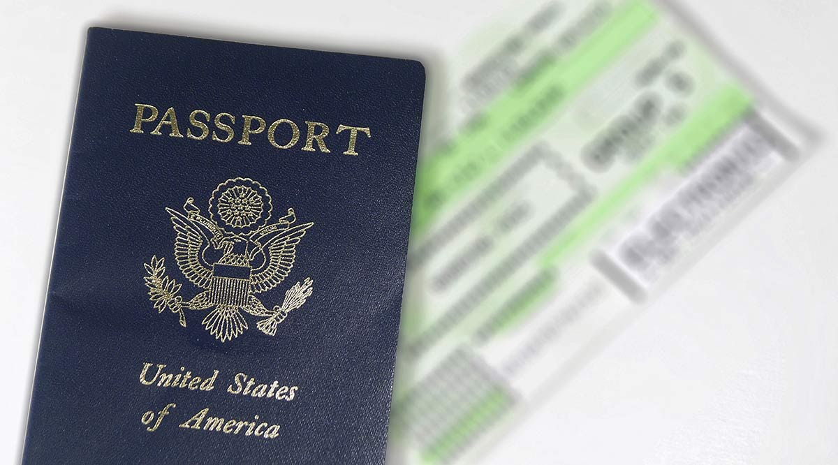 US passport and boarding pass