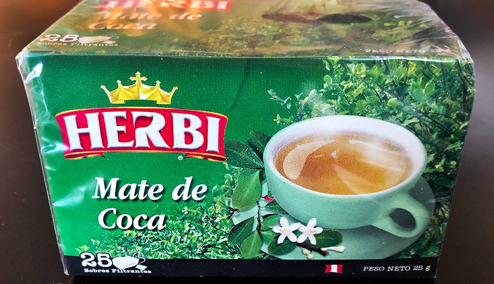 "A green box of ""Mate de Coca,"" Coca leaf tea, common in Peru and the Andes."
