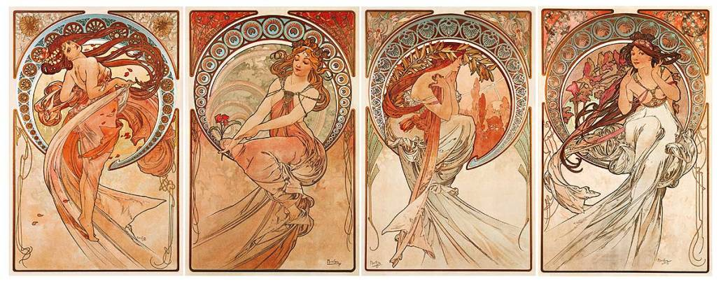 Mucha's The Four Arts, a four-panel piece. Each panel has a woman in slowing dress and hair, in warm colors of yellows and golds.